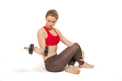 Woman with dumbbell Royalty Free Stock Photo