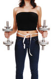 Woman with dumbbell's. Stock Image