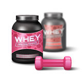 Woman Dumbbell And Sport Nutrition Royalty Free Stock Photos