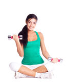 Woman with dumbbells Stock Image
