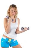 Woman with dumbbells. Royalty Free Stock Photo