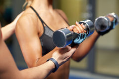 Woman with dumbbells flexing muscles in gym Stock Image