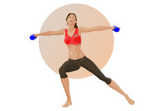 Woman with dumbbells. Illustration of a woman with dumbbells. Simple fill and gradients only - no gradient mesh Stock Image