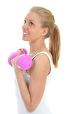 Woman with dumbbells isolated over white backgroun Royalty Free Stock Photo