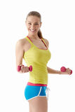 Woman with dumbbells Stock Photography
