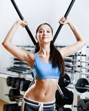 Woman with dumbbells stick Royalty Free Stock Images