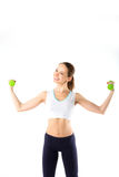 Woman with dumbbells. Stock Image