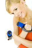 Woman with dumbbells Royalty Free Stock Image
