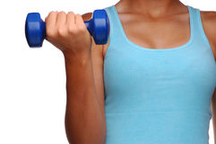 Woman with Dumbell. Woman doing bicep curl with a small dumbell isolated over white Stock Photos