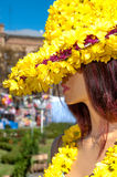 Woman dummy in a hat  of yellow flowers Royalty Free Stock Photography