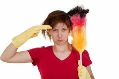 Woman with duster Stock Images