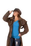 Woman in duster and hat Stock Photos