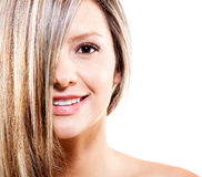 Woman with dyed hair Stock Photo