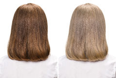 Woman before and after dyeing hairs Stock Images