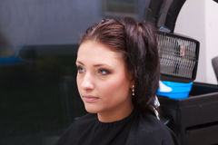 Woman dying hair in hairdressing beauty salon. Hairstyle. Royalty Free Stock Photography