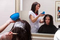 Woman dying hair in hairdressing beauty salon. Hairstyle. Royalty Free Stock Photo