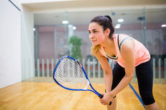 Woman eager to play squash Royalty Free Stock Photo