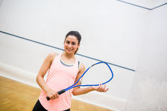 Woman eager to play squash Stock Image