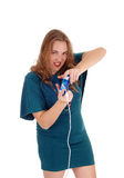 Woman eager to play video game. Stock Image