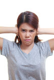 Woman ear ache Royalty Free Stock Image