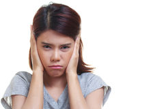 Woman ear ache Stock Images