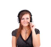 Woman with ear-phones, isolated. Royalty Free Stock Photos
