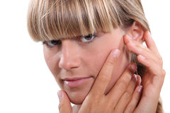 Woman with earache Royalty Free Stock Image