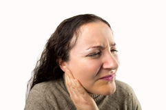 Woman with earache royalty free stock photo