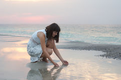 A woman early in the morning Royalty Free Stock Photo