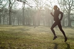 Woman On Early Morning Winter Run In Park Keeping Fit Listening To Music Through Earphones. Woman On Early Morning Winter Run In Park Keeping Fit Listening To royalty free stock photos