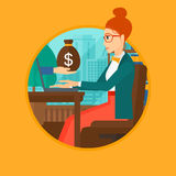 Woman earning money from online business. Royalty Free Stock Image