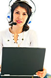 Woman in earphone with laptop Royalty Free Stock Photo