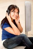 Woman with earphones Stock Photos