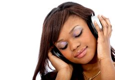 Woman with earphones Royalty Free Stock Images