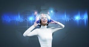 Woman with earphones Stock Image