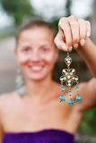 Woman with earrings Royalty Free Stock Photo