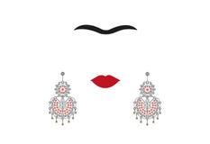 Woman earrings, Mexican crafts, women`s jew-ellery, minimal portrait Frida Kahlo , illustration isolated. Woman earrings, Mexican crafts, women`s jew-ellery stock illustration