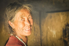 Woman with earrings in Nepal Royalty Free Stock Image