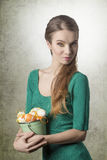 Woman with easter basket Stock Photography