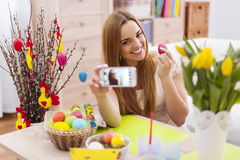 Woman with easter decoration Royalty Free Stock Photos