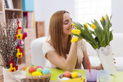 Woman with easter decoration Royalty Free Stock Image
