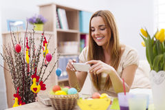 Woman with easter decoration Stock Images
