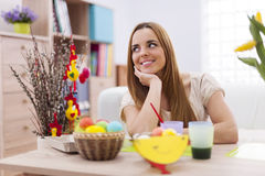 Woman with easter decoration Stock Photography