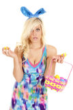 Woman easter egg open Royalty Free Stock Photography