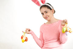 Woman with Easter eggs Stock Photo