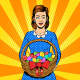 Woman with easter eggs pop art style vector Royalty Free Stock Images