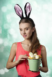 Woman with easter eggs Royalty Free Stock Images