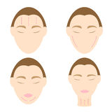 Woman easy massage anti face wrinkle 2 Royalty Free Stock Photo