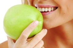 Woman eat aple Stock Photo