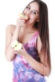 Woman eat  apple on white Stock Image